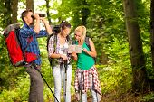 stock photo of orientation  - group of young hikers with map and binoculars on hiking - JPG