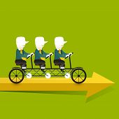 pic of triplets  - flat design vector illustration concept of cooperation triplets - JPG