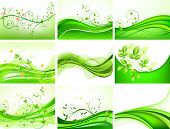 Abstract green floral vector set