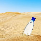 Bottle Of Mineral Water On The Sand