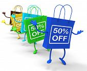 Fifty Percent Off On Colored Shopping Bags Show Bargains