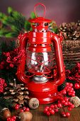 image of kerosene lamp  - Red kerosene lamp on dark color background - JPG