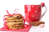 stock photo of hot-chocolate  - Christmas cookies with a mug of cinnamon hot chocolate - JPG