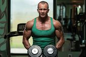 Bodybuilding Shoulder Exercise With Dumbbells