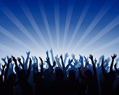 picture of person silhouette  - illustration of a cheering audience and enthusiasm people - JPG