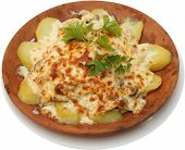 Vegetarian Food. Baked Potatoes With Cheese
