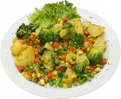 Vegetarian Food. Dish From Mixed Fresh Vegetables.