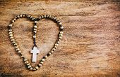 Simple Cross Inside Heart Shape - Rustic
