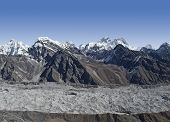 Khumbu Glacier and mountains in Everest Region,  Nepal