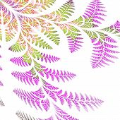 Asymmetrical Pattern Of The Leaves In Purple And Green. On White Background. Computer Generated Grap