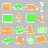 bedroom stickers set eps10