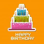 Orange Birthday Background Illustration