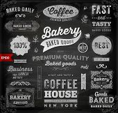 Set of Vintage Bakery Logo Badges and Labels for Retro Design. Chalkboard Background, Chalk Design.