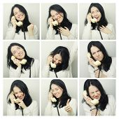 Collage of the same woman with telepnone making diferent expressions.Studio shot.