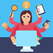picture of multitasking  - Vector self employment concept in flat style  - JPG