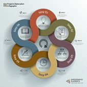 Linked Circles Projects Elaboration Infographic Background