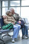 Senior couple at airport