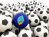 picture of guam  - Football with flag of guam in front of regular balls - JPG