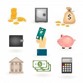 Set of colored money icons