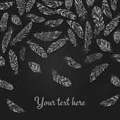 image of dainty  - Background with falling hand drawn delicate white feathers on black with copyspace below for your text in square format - JPG