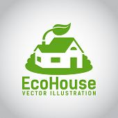 Vector green eco house icon
