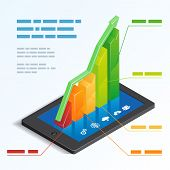 picture of ascending  - Colorful ascending 3d bar graph on a tablet touchscreen depicting mobile online analytics with a text box template  vector illustration - JPG