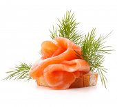 image of canapes  - sandwich or canape with salmon on white background  cutout - JPG