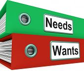 picture of desire  - Needs Wants Folders Showing Requirement And Desire - JPG