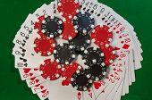 Poker, royal flush and gambling chips