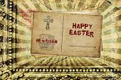 foto of he is risen  - Religious Words in grunge style on grunge background - JPG