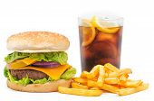 stock photo of fried onion  - Photography studio a burger with fries and a coke - JPG