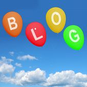 Four Blog Balloons Show Blogging And Bloggers Online
