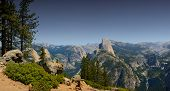 Nice Pano Image of Half dome from Glacier point showing Vernal and nevada falls