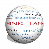 Think Tank 3D Sphere Word Cloud Concept