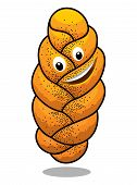 Cartoon plaited poppy seed baguette