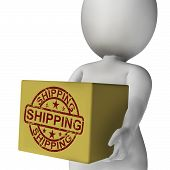 Shipping Box Means International Transport Of Goods And Products