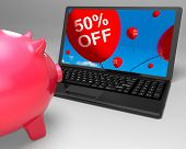 Fifty Percent Off Laptop Means 50 Half-price Savings