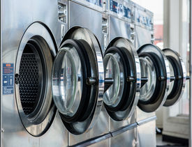 picture of laundromat  - opening washing machine doors are ready for working - JPG