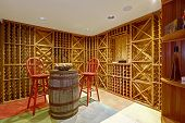 Wine Cellar Interior In Basement Room.