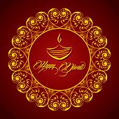 pic of swastik  - vector illustration of Creative Diwali greeting card - JPG