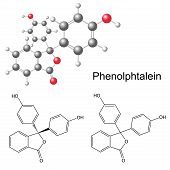 Phenolphthalein Molecule - Structural Chemical Formula And Model