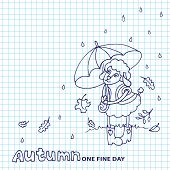 Cute sheep girl with umbrella under rain.Sketchy notepaper