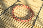 Vivid color hair rubber band shallow depth of field