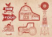 stock photo of red barn  - Farm characters in vintage style lettering in tractor barn and the mill and the sign field stylized drawing in kraft red color - JPG