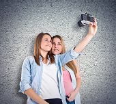 Girl Photographing Over Textured Background