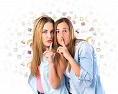 Friends Making Silence Gesture Over Isolated White Background
