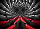 Intriguing abstract techno background with elements of metal, made in contrasting black and scarlet