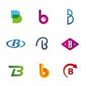 stock photo of letter b  - Set of letter B logo icons design template elements - JPG