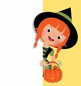 Halloween Witch Holding A White Banner