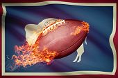 American Football Ball With Flag On Backround Series - Wyoming